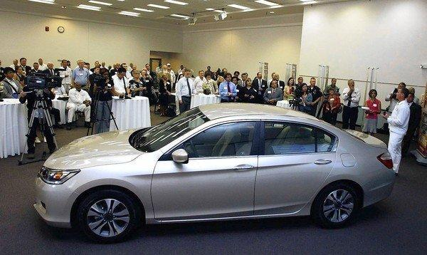 The new 2013 Honda Accord is on display to the media prior to an unveiling event at the Marysville Auto Plant in Marysville, Ohio. The new Accord is almost 4 inches shorter than the previous model but offers more cargo space and a spacious cabin.
