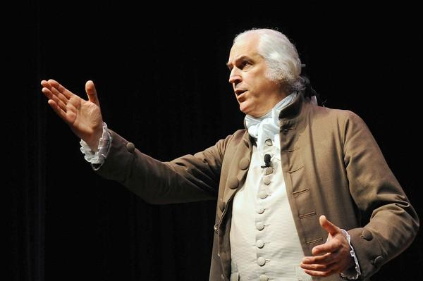 Dean Malissa the official historical portrayer of George Washington for Mount Vernon talks about Washington's life and time in character in the Lipkin Theatre at Northampton Community College Tuesday morning.
