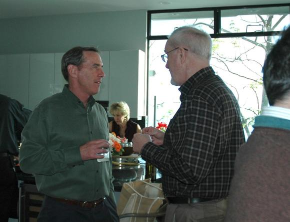 Bob WHalen, left, and Chris Quilter at Whalen's kick-off party Sunday.