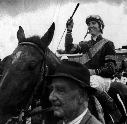 Deputed Testamony, with jockey Donnie Miller, is led to the Pimlico winner's circle after their astounding victory in the 1983 Preakness Stakes.