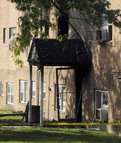 This is the entrance to a burned apartment in the 5000 block of Lodestone Way at the Parkside Gardens Apartment complex.