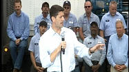 "Republican presidential candidate <span class=""runtimeTopic"">Paul Ryan </span>attacked President Obama's economic policies during a campaign speech Wednesday at Piedmont Precision Machine Company in Danville."