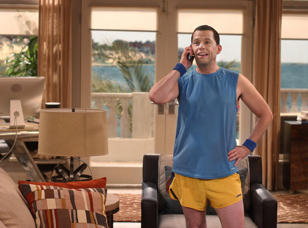 "Jon Cryer on the set of ""Two and a Half Men."""