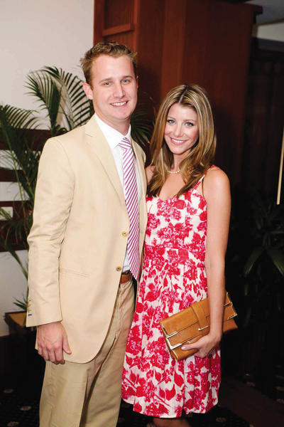 "Jason Brian, left, and Kait Parker at Friends of the American Heart Association's ""Summer Soiree,"" which took place at the Sailfish Club located in Palm Beach. The event served as a launch to the 2013 ""Palm Beach Heart Ball"" season."
