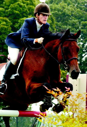 Anna McWane and her horse Dixie complete a vertical jump during the 2003 Junior/Amateur Jumper Classic at the Columbia Classic Grand Prix at Howard Community College Sunday September 21, 2003.