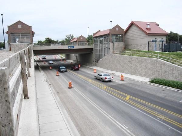 Cars on Belmont Avenue traverse the nearly complete underpass of the Burlington Northern Santa Fe line, the only separated grade crossing in the village. Both lanes of Belmont are scheduled to re-open by the end of September.
