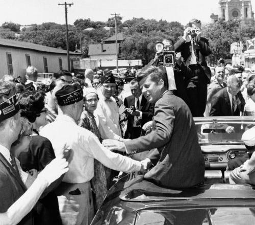 "John F. Kennedy campaigning in 1960 with Sen. George McGovern, who would run for president in 1972. Both campaigns &#8211 as well as those in 1964, 1968 and 1980 – were detailed in Theodore H. White's ""Making of the President"" series. His books set the standard for comprehensive campaign reporting."