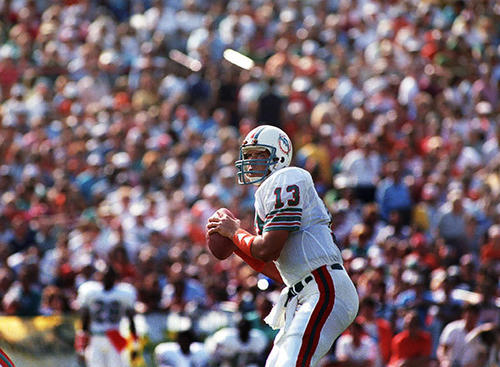 Dan Marino with a sea of Dolphans as the backdrop for the win  against the Seattle Seahawks in the 1984 season.