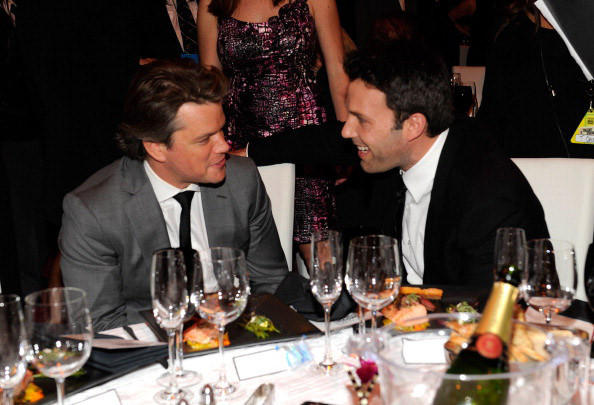 Matt Damon and Ben Affleck attends the 16th Annual Critics Choice Movie Awards at the Hollywood Palladium.