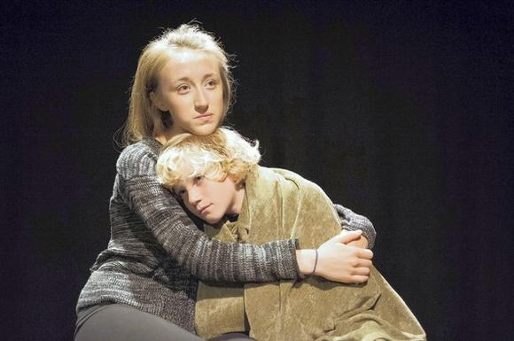 "Olivia Cygan and Gabriel Stern in Piven Theatre Workshop's  production of ""Tusk Tusk."""