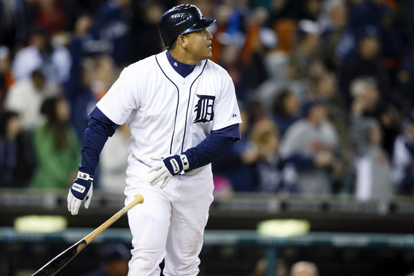Detroit Tigers third baseman Miguel Cabrera hits a grand slam home run during the eighth inning against the Oakland Athletics.