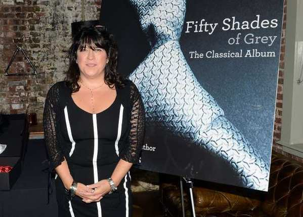 "Author E.L. James poses at the ""Fifty Shades Of Grey: The Classical Album"" launch event at the Soho House in New York."