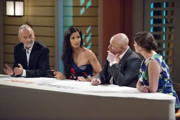 Back on the firing line: Hubert Keller, Padma Lakshmi, Tom Colicchio and Gail Simmons confer.
