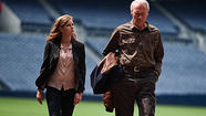 "Wholly predictable yet serenely enjoyable, ""Trouble With the Curve"" opens with Gus, the aging Atlanta Braves baseball scout played by Clint Eastwood, standing at the toilet, wondering how long it'll take <em>this</em> time."