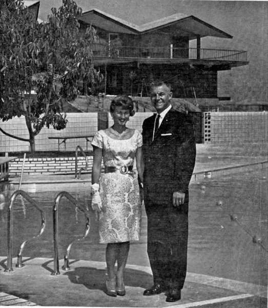 Bill Godbey, developer and president of the La Canada Country Club, stands near the pool with his wife, Vivian, prior to the clubs grand opening in September 1962.