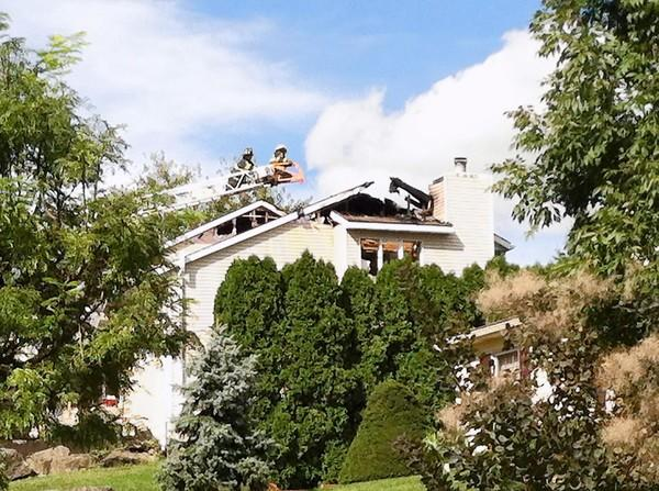 Fire crews were called to a blaze Wednesday at a home in the 3000 block of Old Nazareth Road.