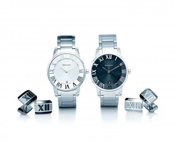 Atlas collection (from left): Atlas cuff links in midnight titanium and sterling silver; Atlas dome watch with silver dial in stainless steel; Atlas dome watch with black dial in stainless steel; Atlas cuff links in galaxy titanium and sterling silver, at Daoud's Jewelers.