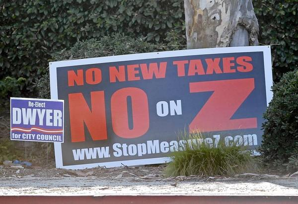 A sign for No on Measure Z is seen at Yorktown Avenue and Goldenwest Street in Huntington Beach.