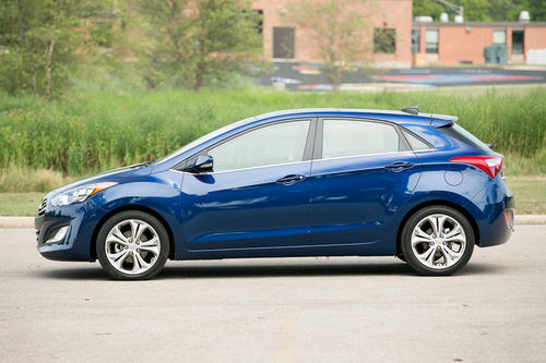The hatchback comes at a price premium compared with the sedan, which is typical for hatchback versions of compact cars. Checking in at $25,365 with options and destination charge, our fully loaded GT cost about $2,000 more than a fully loaded Elantra sedan. But the extra dough is easy to part with.