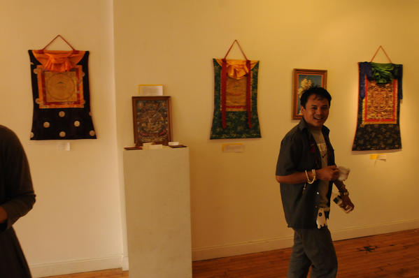 West Hartford's Chuntui Lama (originally from Nepal) at the MAC650 Gallery in Middletown Wednesday evening.