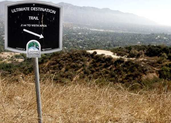 The view from above the Ultimate Destination in Cherry Canyon, where the city of La Canada Flintridge plans to install a water fountain for horses and humans after receiving a donation from resident Liz Blackwelder.