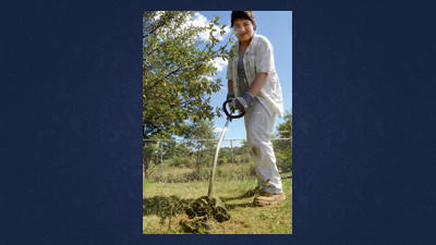 Robert Samuel Olderich, 17 helped out by manning a weed eater at Jager and Friends Dog Park on Wednesday.