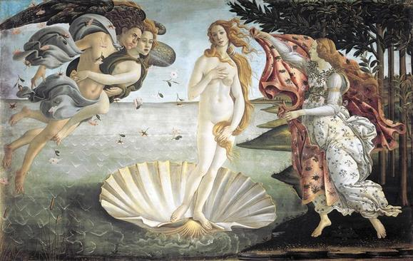 The Birth of Venus by Sandro Botticelli (1445-1510), tempera on canvas, 1725x2785 cm, 1484