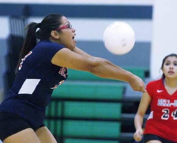Bell Jeff's Karina Hernandez bumps the ball off a Providence serve.
