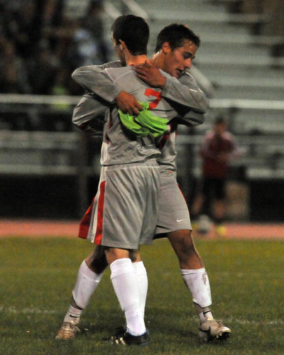 Parkland's Dylan Engel (9) celebrates a goal with his teammate Nolan Hay (7) against Emmaus during a high school soccer match on Wednesday evening.