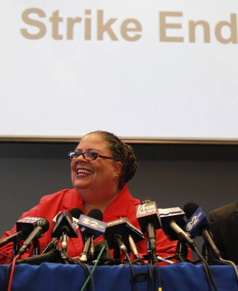 Chicago Teachers Union president Karen Lewis addresses the media after the teachers union delegates voted to suspend the strike.