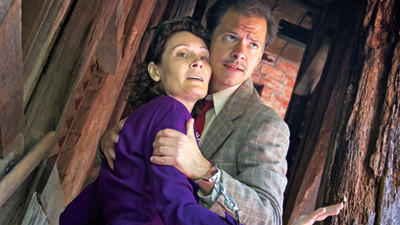 Joseph Domencic and Lisa Riegel star in the cast of four performing Alfred Hitchcock's The 39 Steps which continues the 2012 Season of the Mountain Playhouse in Jennerstown until Sept. 30.