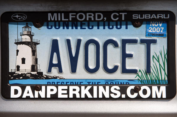 09.17.2012 - New Haven, CT - License plate detail of a car parked by a hawk-watcher at Lighthouse Point Park. Photograph by MARK MIRKO  |  mmirko@courant.com