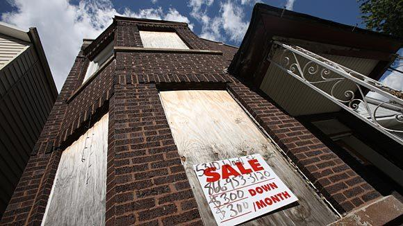 A foreclosed home is shown in Chicago.
