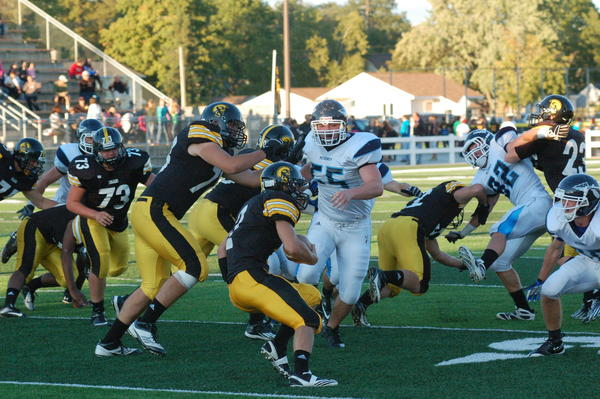 Petoskey senior defensive end Jordan Haggerty (55) and the Northmen will look to snap a two-game losing skid Friday, Sept. 21, when they play host to Cheboygan at Curtis Field.