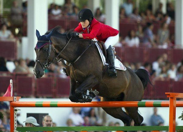 Jessica Springsteen rides Vornado Van Den Hoemndrik during the CSIO tournament in Gijon, Spain, on Aug. 30.