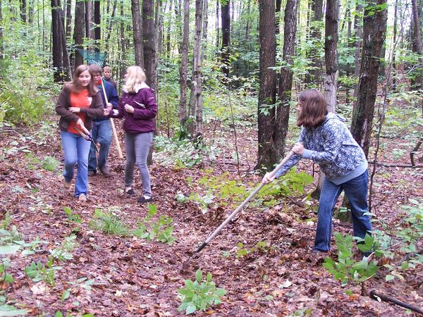 Thirty people signed up to help the Little Traverse Conservancy improve trails Wednesday at Raven Ridge Nature Preserve just outside East Jordan for Char-Em United Ways Day of Caring.