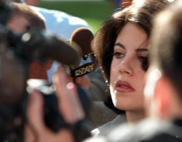 Monica Lewsinsky leaving the Federal Building in Westwood in 1998.