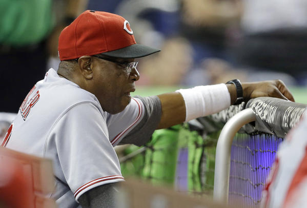 Cincinnati Reds Manager Dusty Baker, who played for the Dodgers from 1976 to 1983, during a game earlier this season.