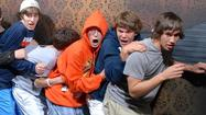 People really freaking out in a haunted house