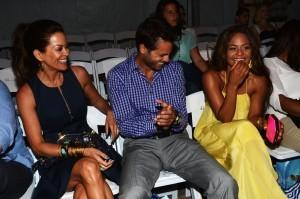 (L-R) Brooke Burke, David Charvet and Christina Milian attend the Lisa Blue show during Mercedes-Benz Fashion Week Swim 2013 at The Raleigh on July 19, 2012.