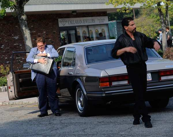 "Jonah Hill, left, and Jon Bernthal film on location for ""The Wolf Of Wall Street"" on Sept. 17, 2012, in Emerson, N.J."