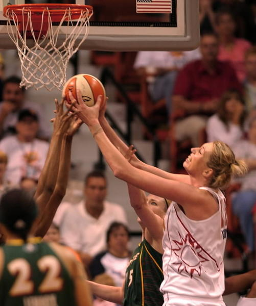 During first-half action at the Mohegan Sun Arena on July 20, 2007, Margo Dydek, then of the Connecticut Sun, takes charge of the boards against the Seattle Storm to help the Sun win 76-58. Dydek died May 27, 2011, at age 37.