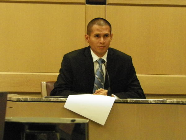 Fort Lauderdale Police Officer Jefferson Alvarez, 29, testifies Thursday at his perjury trial in the Broward Courthouse.