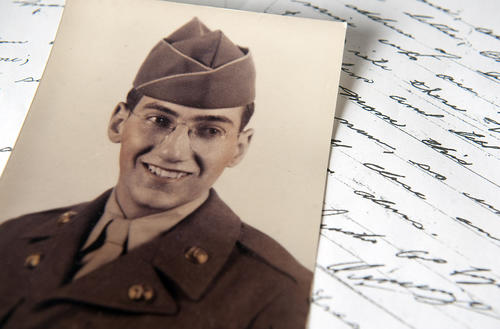 A photo and copies of letters from Vincenzo Romeo, who died as a POW in Korea. His brother Nick Romeo, of Easton, received medals on his brother's behalf in a ceremony on Thursday.