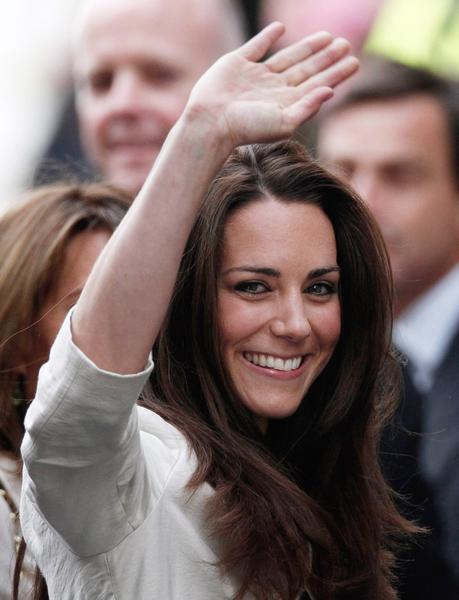 Kate Middleton waves to the crowds after visiting Westminster Abbey on April 28, 2011 in London, a day before her wedding to Prince William.
