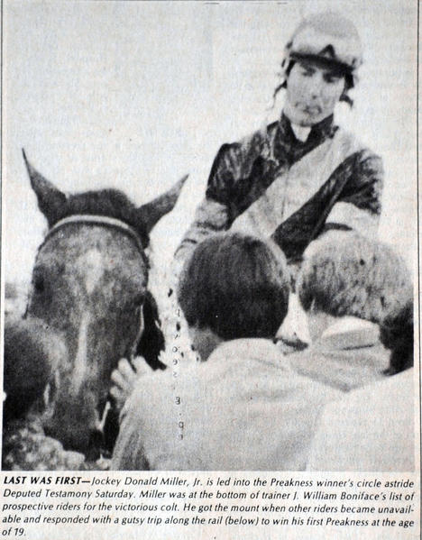 In a photo published in the May 26, 1983 edition of The Aegis, Deputed Testamony and Jockey Donald Miller are mobbed in the Pimlico winner's circle after their upset victory in the Preakness Stakes.