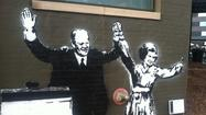 The graffiti image of a President Gerald R. Ford is currently on display as a part of Artprize in Downtown Grand Rapids.