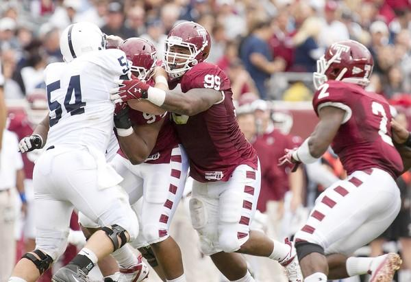 Levi Brown, a Liberty High graduate, has started 14 consecutive games at defensive tackle for Temple.