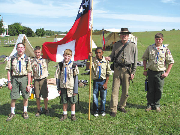 Troop 66 Scouts, shown with a Confederate soldier at a Battle of Antietam 150th anniversary re-enactment, are, from left, Christopher Tich, Camden Casey, Cooper McChesney, Zion Denard and Roy Jenkins.
