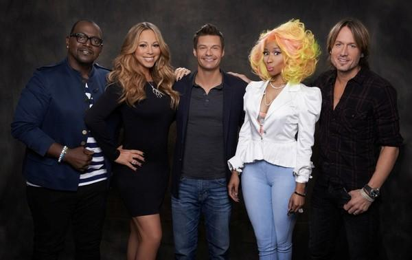 "(L to R) ""American Idol's"" Randy Jackson, Mariah Carey, Ryan Seacrest, Nicki Minaj and Keith Urban"